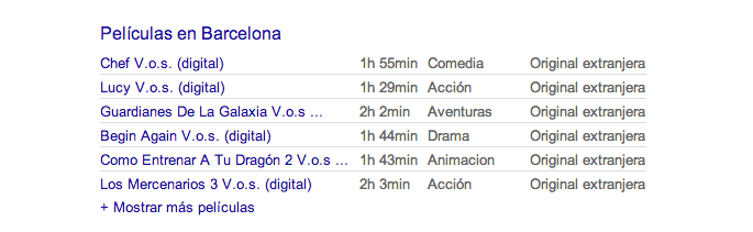 Cartelera cines google