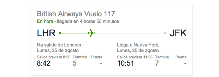 Estado de vuelo google